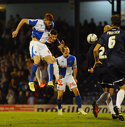 Bristol Rovers' Matt Harrold leaps to head his team into the lead - Photo mandatory by-line: Seb Daly/JMP - Tel: Mobile: 07966 386802 27/09/2013 - SPORT - FOOTBALL - Roots Hall - Southend - Southend United V Bristol Rovers - Sky Bet League Two