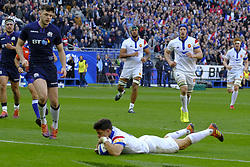 February 23, 2019 - Saint Denis, Seine Saint Denis, France - The Fly-Half of French Team ROMAIN NTAMACK in action during the Guinness Six Nations Rugby tournament between France and Scotland at the Stade de France - St Denis - France..France won 27-10 (Credit Image: © Pierre Stevenin/ZUMA Wire)