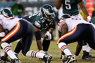 PHILADELPHIA - OCTOBER 21: Philadelphia Eagle's offensive line prepares for a play during the game against the Chicago Bears on October 21, 2007 at Lincoln Financial Field in Philadelphia, Pennsylvania. The Bears won 19-16.