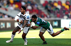 Sale Sharks' Denny Solomona (left) and London Irish's Curtis Rona during the Gallagher Premiership match at the Brentford Community Stadium, London. Picture date: Sunday September 26, 2021.