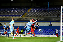 Leo Ostigard of Coventry City and Birmingham City's Lukas Jutkiewicz compete for an arial ball - Mandatory by-line: Nick Browning/JMP - 20/11/2020 - FOOTBALL - St Andrews - Birmingham, England - Coventry City v Birmingham City - Sky Bet Championship