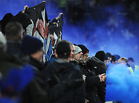 Football - 2017 / 2018 Premier League - Brighton & Hove Albion vs. Crystal Palace<br /> <br /> Crystal Palace fans continue to let off fireworks even after the game had ended, at The Amex.<br /> <br /> COLORSPORT/ANDREW COWIE