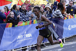 November 6, 2016 - New York, New York, U.S - GHIRMAY GHEBRESLASSIE of Eritrea, 20, seen here shortly after turning west on 59th Street in Manhattan, competes in the New York City Marathon. He would win the men's division of the race in 2:07:51-- becoming the youngest man, and the first from Eritrea, to win this Marathon. (Credit Image: © Staton Rabin via ZUMA Wire)
