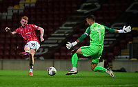 Lincoln City's Callum Morton scores his side's fifth goal<br /> <br /> Photographer Chris Vaughan/CameraSport<br /> <br /> Carabao Cup Second Round Northern Section - Bradford City v Lincoln City - Tuesday 15th September 2020 - Valley Parade - Bradford<br />  <br /> World Copyright © 2020 CameraSport. All rights reserved. 43 Linden Ave. Countesthorpe. Leicester. England. LE8 5PG - Tel: +44 (0) 116 277 4147 - admin@camerasport.com - www.camerasport.com