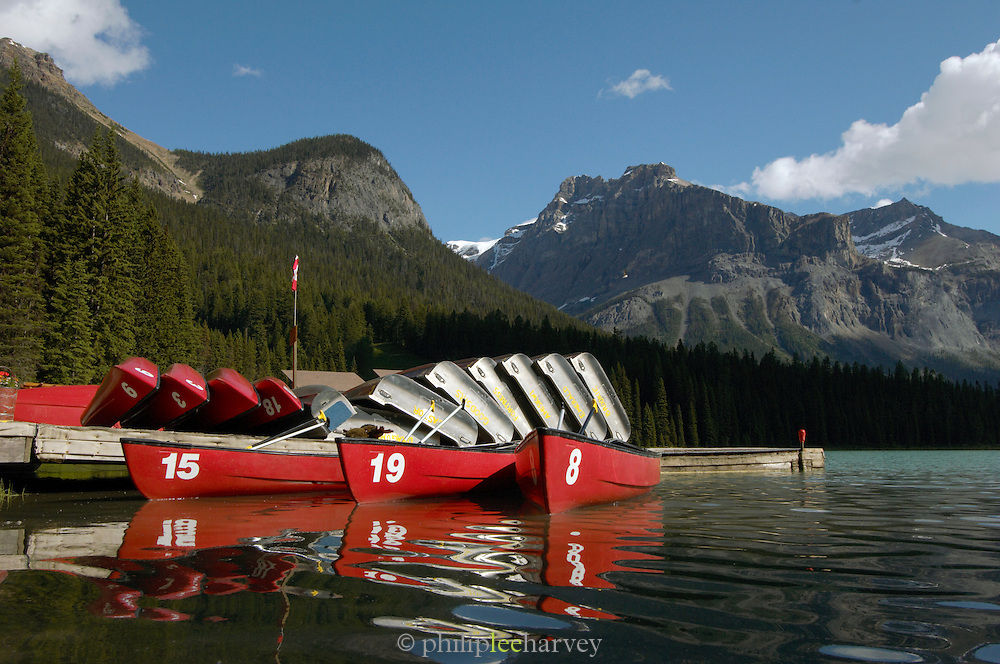 Boats for hire on Emerald Lake, Rocky Mountains, British Colombia, Yoho National Park, Canada, North America.