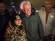 29 DECEMBER 2019 - DES MOINES, IOWA: US Senator BERNIE SANDERS (Ind-VT) poses for a selfie with a supporter after the Des Moines Menorah lighting on the last night of Hanukah Sunday night. Sen. Sanders is in Iowa campaigning to be the Democratic presidential nominee in 2020. Iowa hosts the first selection event of the presidential election cycle. The Iowa Caucuses are Feb. 3, 2020.          PHOTO BY JACK KURTZ