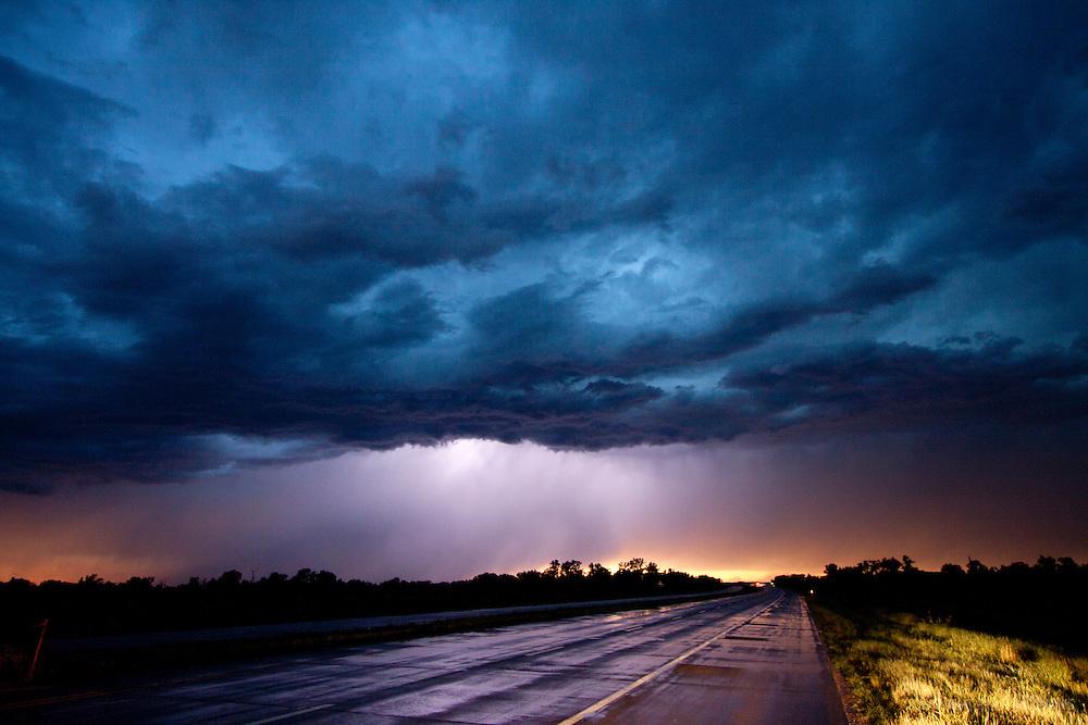 A thunderstorm over Kansas at night, June 19, 2010.