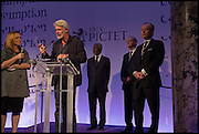 CHRIS DERCON RECEIVING THE PRIZE ON BEHALF OF  MICHAEL SCHMIDT FROM KOFI ANNAN, The fifth Prix Pictet prize of CHF100,000 Victoria and Albert Museum, London. 21 May 2014