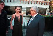 Kate Moss & Henry Kissinger at the Talk magazine launch. New York. 2 September 1999.<br />