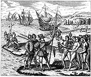 Christopher Columbus (1451-1506) Genoese explorer, discovering America - 12 May 1492. From engraving by Theodore de Bry 1590.