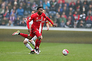 Daniel Sturridge of Liverpool in action. Barclays Premier league match, Swansea city v Liverpool  at the Liberty Stadium in Swansea, South Wales on Sunday 1st May 2016.<br /> pic by  Andrew Orchard, Andrew Orchard sports photography.