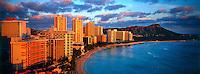 Overview of Waikiki Beach with Diamond Head on right, Honolulu, Hawaii USA
