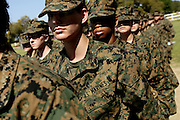 Female recruits stand at attention as they prepare to head out of the rifle school to get some lunch on the field.   Marine Corps Recruit Depot at Parris Island in South Carolina is where all male recruits living east of the Mississippi River and all female recruits from all over the US receive their arduous twelve week training in their quest to become marines. Even though there are two current active wars and a weak economy, recruitment has not been effected.  Actually, recruiting numbers have increased, with more young men and women looking toward the military for answers.
