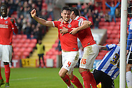 Johnnie Jackson, the Charlton Athletic Captain celebrates after he scores his teams 1st goal of the match from a corner to make it 1-0. Skybet football league championship match, Charlton Athletic v Sheffield Wednesday at The Valley  in London on Saturday 7th November 2015.<br /> pic by John Patrick Fletcher, Andrew Orchard sports photography.