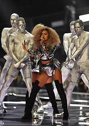 Little Mix's Leigh-Anne Pinnock on stage at the BRIT Awards 2017, held at The O2 Arena, in London.<br /><br />Picture date Tuesday February 22, 2017. Picture credit should read Matt Crossick/ EMPICS Entertainment. Editorial Use Only - No Merchandise.