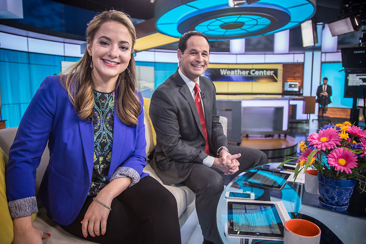"""6:30 AM, Tuesday, March 31, 2015.  Anchorage's KTVA """"Daybreak"""" hosts Megan Mazurek and James Gaddis,  are photographed on-air during an interview featuring my Portrait-a-Day project and my subsequent appearance in Todd Hardesty's Centennial film, """"Anchorage Is""""."""