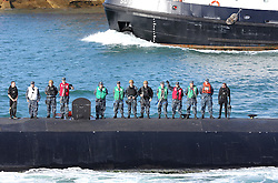© under license to London News Pictures.  31/08/2013  The Nuclear attack submarine, USS Virginia leaves Portsmouth Harbour in the UK today, 31st August 2013, for an unknown destination. Picture credit should read: Bryan Moffat/London News Pictures