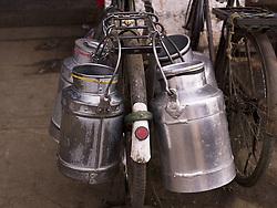 July 21, 2019 - Milk Jugs On Bicycle (Credit Image: © Keith Levit/Design Pics via ZUMA Wire)