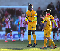 Northampton Town's Aaron Pierre celebrates scoring his side's equalising goal to make the score  1-1<br /> <br /> Photographer Andrew Vaughan/CameraSport<br /> <br /> The EFL Sky Bet League Two - Lincoln City v Northampton Town - Saturday 9th February 2019 - Sincil Bank - Lincoln<br /> <br /> World Copyright © 2019 CameraSport. All rights reserved. 43 Linden Ave. Countesthorpe. Leicester. England. LE8 5PG - Tel: +44 (0) 116 277 4147 - admin@camerasport.com - www.camerasport.com