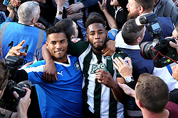 Reuben Reid of Plymouth Argyle and Jamille Matt of Plymouth Argyle celebrate reaching the playoff final - Mandatory by-line: Robbie Stephenson/JMP - 15/05/2016 - FOOTBALL - Home Park - Plymouth, England - Plymouth Argyle v Portsmouth - Sky Bet League Two play-off semi-final second leg
