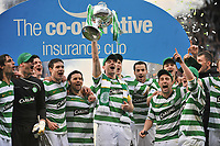 CIS Cup Final<br /> Celtic v Rangers<br /> Hampden Park<br /> Glasgow<br /> <br /> Celtic Captain Stephen McManus  lifts the CIS Cup after there 2 -0 extra time win over Rangers.<br /> 15/03/2009 Credit Colorsport / Ian MacNicol