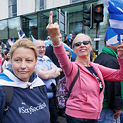 Pro Scottish independence march. The marchers are met in George Square by a small band of Pro -Union protestors. <br /> <br /> Picture Robert Perry for PA Images.10th Feb 2017