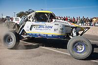 Ronny Wilson Class 1 arriving at finish of 2012 San Felipe Baja 250, San Felipe, Baja California, Mexico.