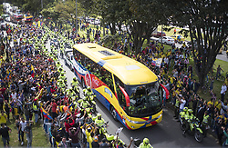 July 5, 2018 - Bogota, Colombia - The bus that transports the players of the Colombia team through the streets of the city of Bogota. (Credit Image: © Daniel Garzon Herazo via ZUMA Wire)