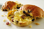 Traditional Cornish saffron bun with butter