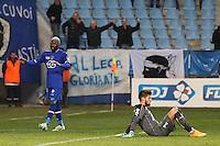 Joie Bastia - Djibril CISSE / Deception Rennes - Benoit COSTIL - 13.01.2015 - Bastia / Rennes - 1/4Finale Coupe de la Ligue -<br />Photo : Michel Maestracci / Icon Sport