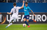 ST PETERSBURG, RUSSIA - OCTOBER 19, 2017. UEFA Europa League group stage: Zenit St Petersburg (Russia) 3 – 1 Rosenborg BK (Norway). Rosenborg's Jacob Rasmussen (L) against Zenit St Petersburg's Emiliano Rigoni (R).