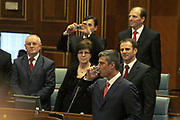 Feb 17, 2008 - Pristina, Kosovo - Kosovo Prime Minister Mr. Hashim THACI drinks a little water before he begins to read the declaration for Kosovo Independence in the Kosovo Parliament Assembly-Room. Kosovo is already declared as Democratic Republic.<br /> (Credit Image: © Vedat Xhymshiti/ZUMA Press)