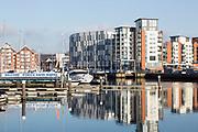 University of Suffolk waterfront buildings Ipswich Haven marina, Ipswich Wet Dock waterside redevelopment, Ipswich, Suffolk, England, UK