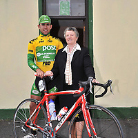 20 May 2008; Mark Cassidy, of the An Post sponsored Sean Kelly cycling team, with Lisdoonvarna Postmaster Marie O'Donoghue on the occasion of the stage finish in Lisdoonvarna. FBD Insurance Ras 2008 - Stage 3, Claremorris - Lisdoonvarna. Picture credit: Stephen McCarthy / SPORTSFILE *** NO REPRODUCTION FEE ***