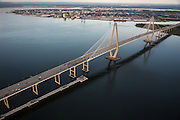 Aerial view of the Arthur Ravenel Jr. Bridge over the Cooper River in Charleston, SC