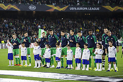 November 8, 2018 - Seville, Spain - Lineup of Betis during the Europa League Group F soccer match between Real Betis and AC Milan at the Benito Villamarin Stadium (Credit Image: © Daniel Gonzalez Acuna/ZUMA Wire)