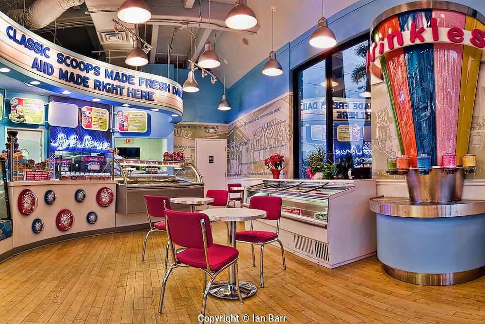 Interior of Carvel ice cream parlor