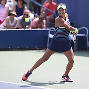 2017 U.S. Open - August 28. DAY ONE. Heather Watson of Great Britain in action against Alize Cornet of France during the Women's Singles round one match at the US Open Tennis Tournament at the USTA Billie Jean King National Tennis Center on August 28, 2017 in Flushing, Queens, New York City. (Photo by Tim Clayton/Corbis via Getty Images)