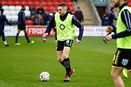 Wimbledon midfielder Anthony Hartigan (8) warming up  during the The FA Cup 3rd round match between Fleetwood Town and AFC Wimbledon at the Highbury Stadium, Fleetwood, England on 5 January 2019.