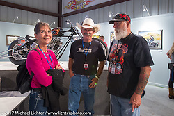 Danell and Stacy McCleary at the Old Iron - Young Blood exhibition media and industry reception in the Motorcycles as Art gallery at the Buffalo Chip during the annual Sturgis Black Hills Motorcycle Rally. Sturgis, SD. USA. Sunday August 6, 2017. Photography ©2017 Michael Lichter.