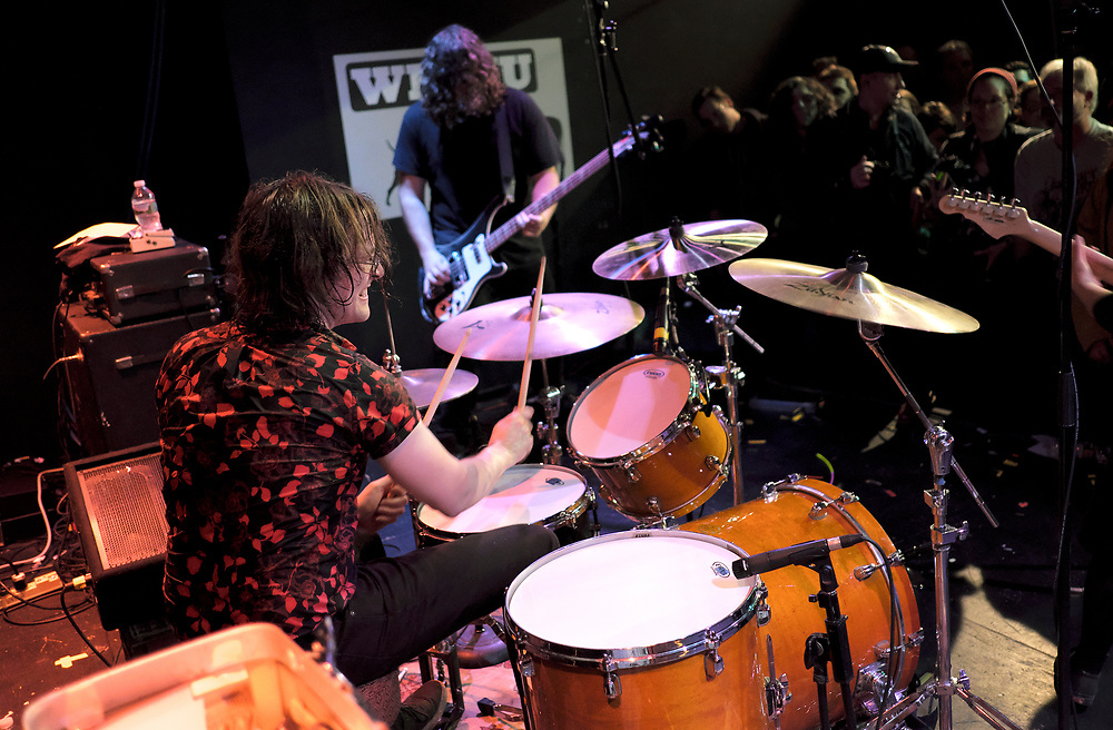 """Screaming Females performs during a three-night residency Feb. 22, 23 and 24 at Monty Hall in Jersey City, New Jersey, to celebrate their new album """"All At Once."""" Screaming Females is a three piece rock band from New Brunswick, New Jersey, consisting of guitarist Marissa Paternoster, drummer Jarrett Dougherty and bassist """"King"""" Mike Abbate, that has been touring for over a decade. Growing their community of fans after getting their start in the DIY punk scene and basement shows, they continue to deliver high-energy performances that occupy every inch of space in any size venue they play. (Photo by Matt Smith)"""