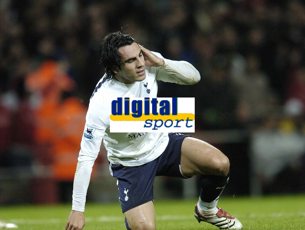 Photo: Olly Greenwood.<br />Arsenal v Tottenham Hotspur. Carling Cup Semi Final 2nd leg 31/01/2007. Spurs Ricardo Rocha can't beleive it was his mistake that led to Arsenal's Jeremie Aliadiere's goal