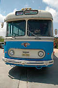 vintage bus, Tel Aviv fair grounds and convention centre, Israel,