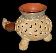 Incense burner in earthenware. Shows a birds head. Aztec 1300-1521 AD. Mexico