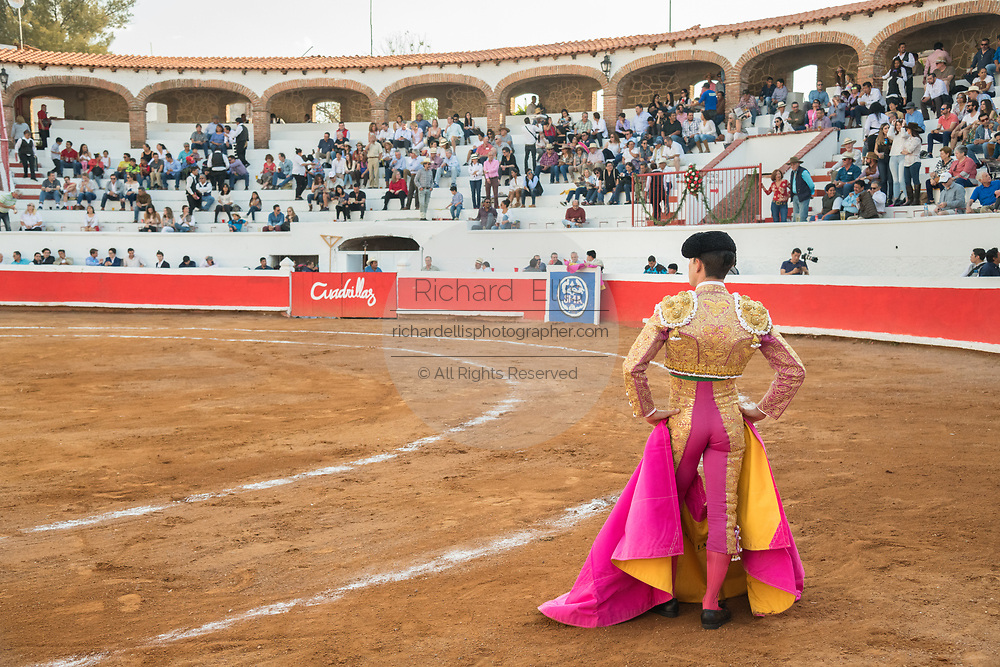 Mexican Bullfighter Arturo Macías stands in the arena waiting for his bull during a bullfight at the Plaza de Toros March 4, 2018 in San Miguel de Allende, Mexico.