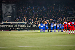 one minute of silence for Dries Jans, father of Ron Jans who passed away at the age of 90 during the Dutch Eredivisie match between PEC Zwolle and FC Utrecht at the MAC3Park stadium on December 01, 2017 in Zwolle, The Netherlands