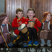 Ben Moloney, Finn Curran, Callum Currid and Luke Moloney as the drummer boys and shepherds in the nativity play in Barefield Church on Sunday evening