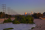Glendale Narrows at the Los Angeles River with the downtown skyline in the background. Los Angeles, California, USA