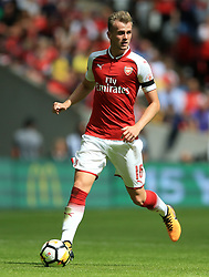 """Arsenal's Rob Holding during the Community Shield at Wembley, London. PRESS ASSOCIATION Photo. Picture date: Sunday August 6, 2017. See PA story SOCCER Community Shield. Photo credit should read: Nigel French/PA Wire. RESTRICTIONS: EDITORIAL USE ONLY No use with unauthorised audio, video, data, fixture lists, club/league logos or """"live"""" services. Online in-match use limited to 75 images, no video emulation. No use in betting, games or single club/league/player publications."""
