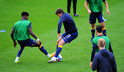 Rollin Menayese and Andy Cook of Mansfield Town warm up prior to kick-off- Mandatory by-line: Nizaam Jones/JMP - 24/10/2020 - FOOTBALL - Jonny-Rocks Stadium - Cheltenham, England - Cheltenham Town v Mansfield Town - Sky Bet League Two